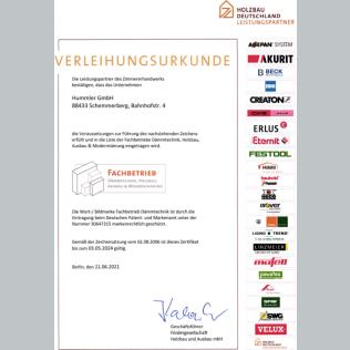 Zertifikat Dämmtechnik